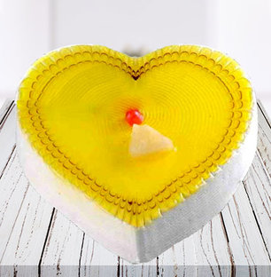 Lovely Pineapple Heart Shape Cake