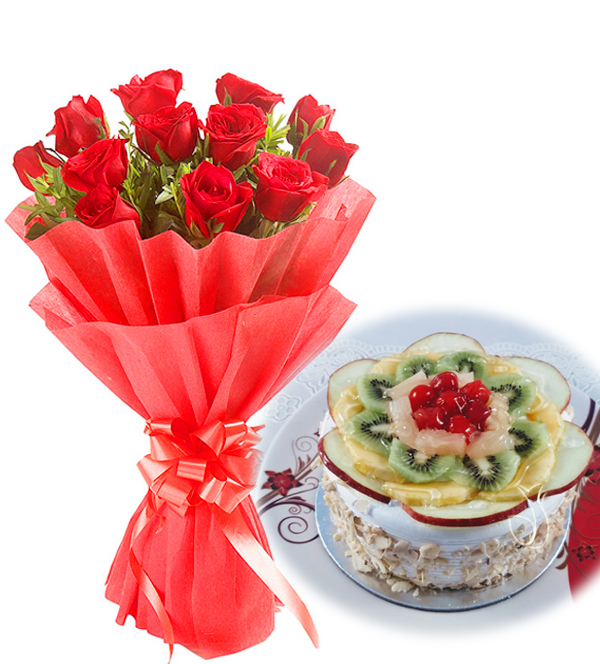 10 Red Roses in Red Paper Wrapping & 1/2 KG Eggless Fruit Cake
