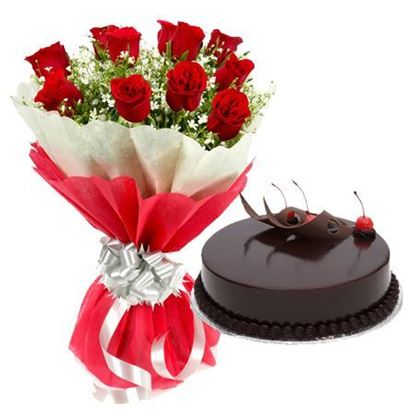 12 Red Roses Bouquet and 1/2 Kg Truffle Cake Combo