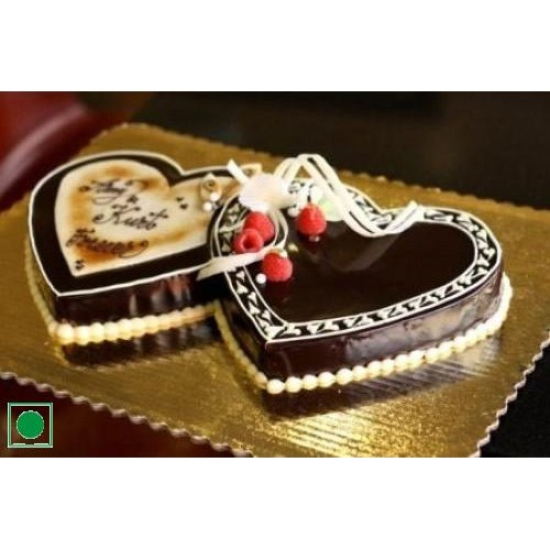 Double Heart Shape Chocolate Cake
