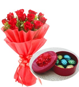 Soulmate Combo of Flower with Rich Chocolate in a Cute Box