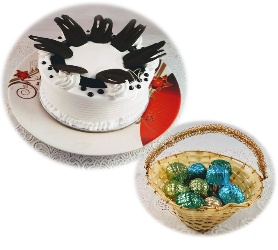 Lip Smacking Combo of Vanilla Cake with 12 Pc of Assorted chocolates in Decorative Basket