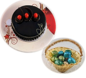 Lip Smacking Combo of Premium Truffle Cake with 12 Pc of Assorted chocolates in Decorative Basket