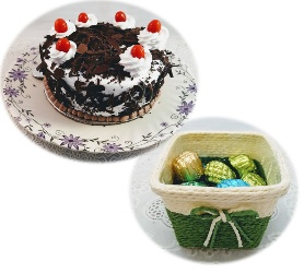 Half Kg Eggless Black Forest Cake with 8 Pcs Premium Quality Mix Chocolate in Cute Basket