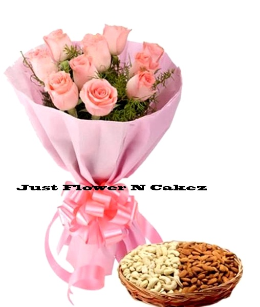 Gift Flower With Dry Fruit Hamper In Delhi and NCR
