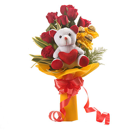Gift For Her - Red Roses With 4 Pc Ferraro Rocher & One Cute White Teddy