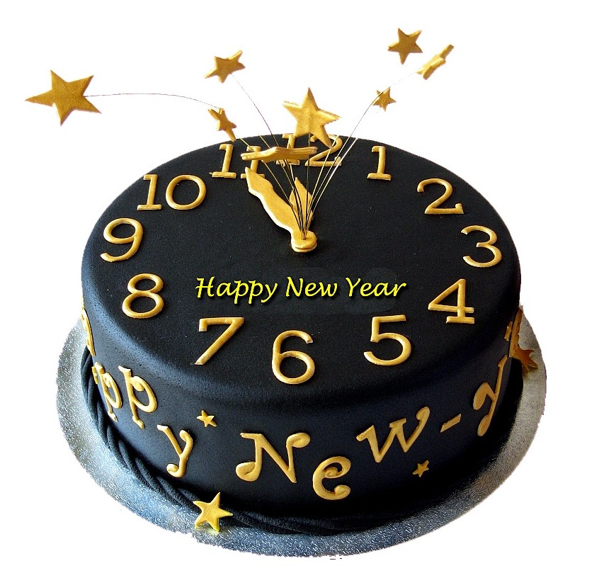 New Year Theme Fondant Cake - 1 Kg