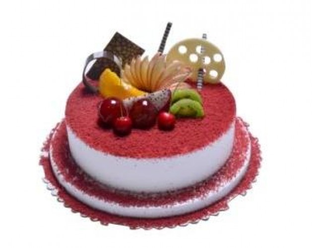 2 Pound Red Velvet Cake With Fruit Decor
