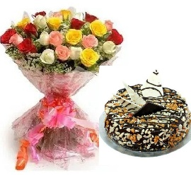Colourful Bunch of Mix Roses With Nutty Chocolate Cake