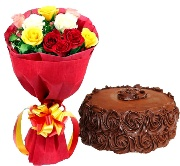 Fresh Roses Bunch with Mini Black Forest Cake