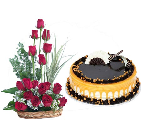 Best Gift Combo - Cake with Rose Basket