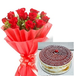 Lovely Combo of Red Roses with Eggless Butterscotch Cake