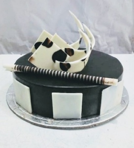 Chocolate Truffle Cake with white Chocolate Garnishing