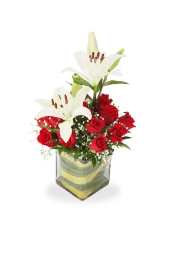 Beautiful Red & White Flower Arrangement from Just Flower N Cakez Noida