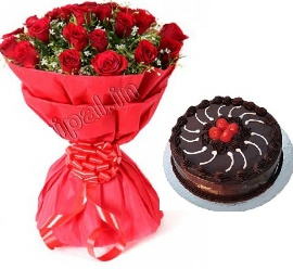 Red Roses with Truffle Cake with  Cherry on Top