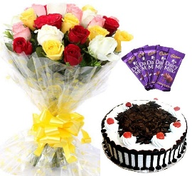Bunch of 15 Mix Roses with Black Forest Cake & 5 Pc Cadbury Dairy Milk