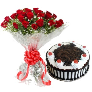 Bunch of 20 Roses and 1/2kg Cake