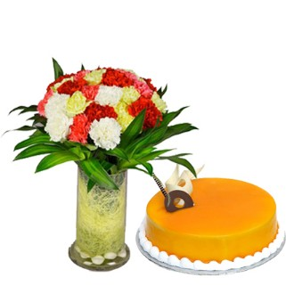 Fresh 25 Carnations in Vase with Mango Cake