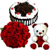 A 10 red roses Bunch, 1/2kg Black Forest Cake and small teddy