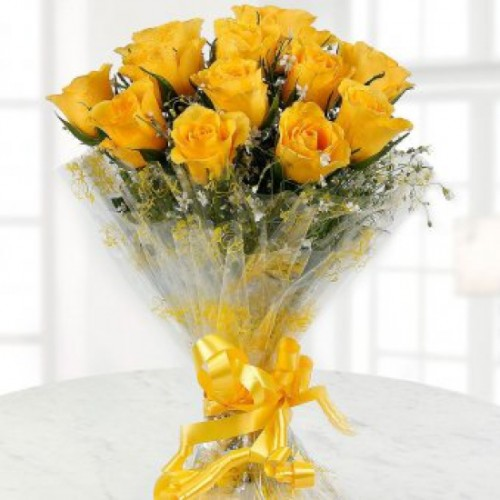Bright Yellow Roses Bunch - 12 Stem