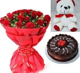 20 Roses with Half Kg Chocolate Cake & Cute Teddy