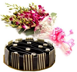 Purple Orchid Bunch with Half Kg Truffle Cake