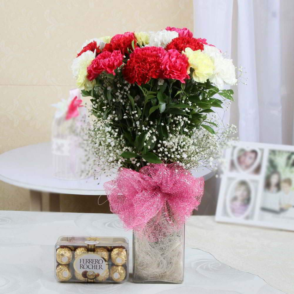 Carnation Flower in Glass Vase with 16 Pc Ferraro Rocher Gift Box