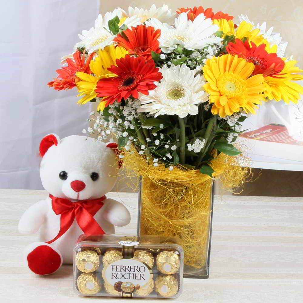 15 Mix Gerberas in Glass Vase, 6 In Teddy Bear, 16 Pcs Ferrero Rocher Box