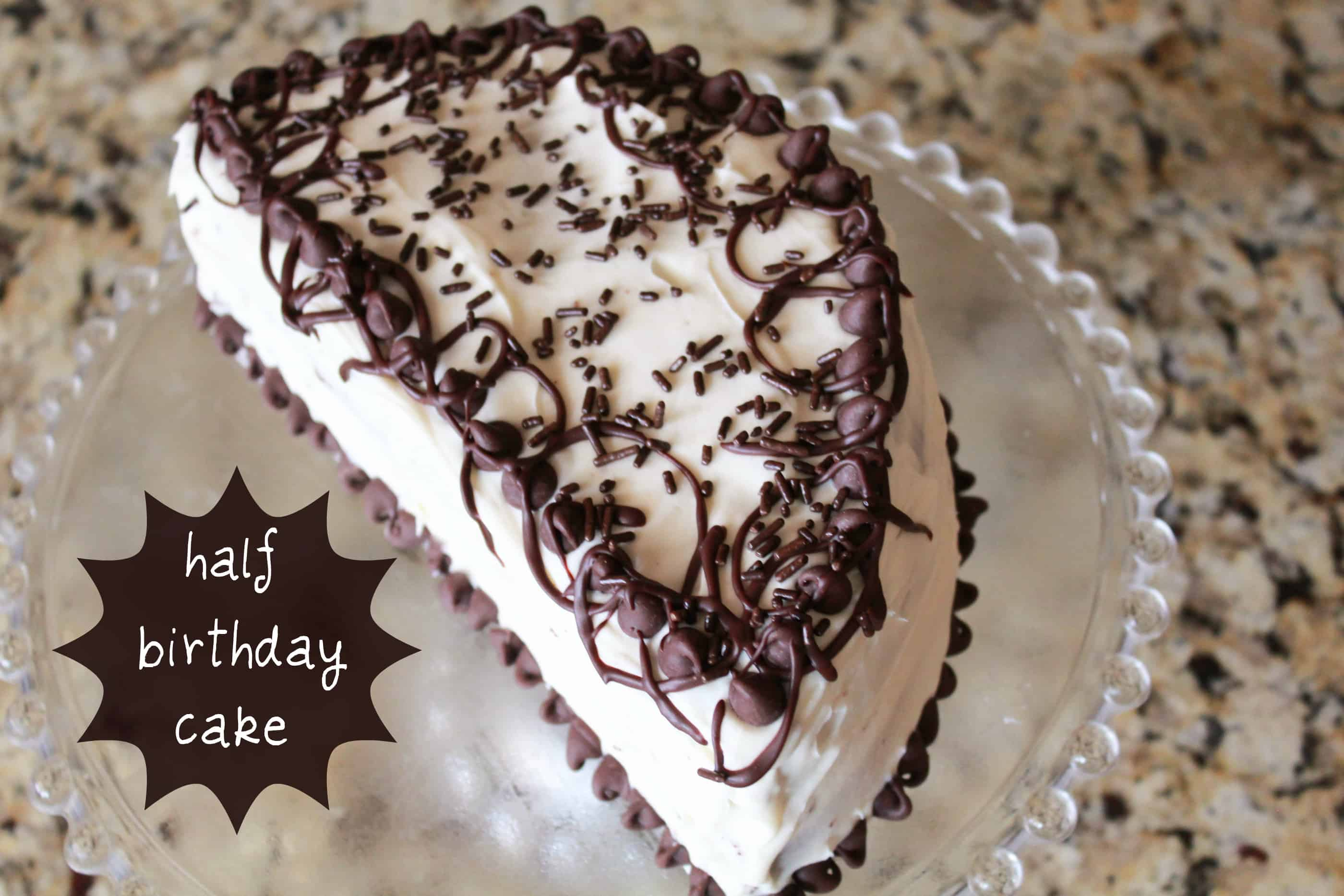 Half Birthday Black Forest Cake with Cream Frosting