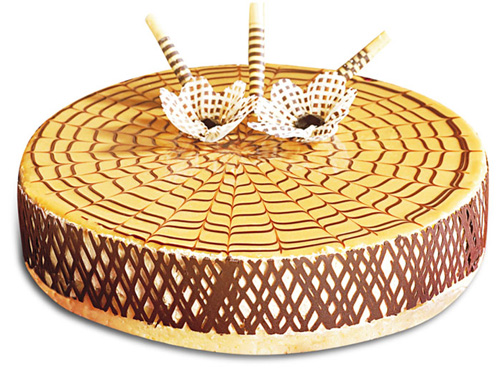 Spider-web caramel cheese cake