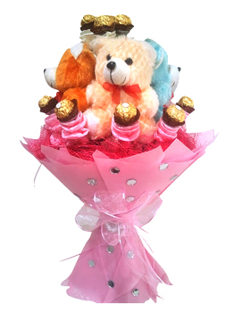 Bouquet of Teddy with Ferrero