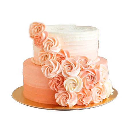 Two Tier Peach Cream Cake