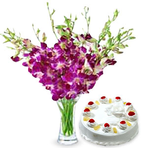 6 Long Stem Royal Purple Orchid in Glass Vase with 1/2 Kg Pineapple Cake