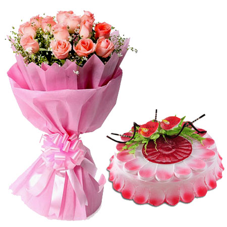 Pink Roses with Strawberry Cake