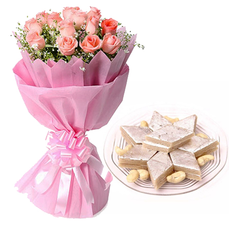 12 Pink Roses in Paper with 1/2kg Kaju Berfi