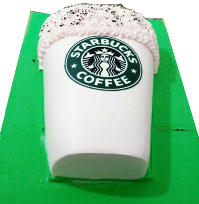 1kg Star Bucks Coffee Shape Cake (Same Day)